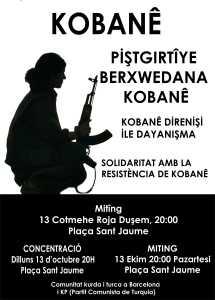Concentración: Lunes, 13 de octubre a las 20h a Pl. Santo Jaume (Barcelona).