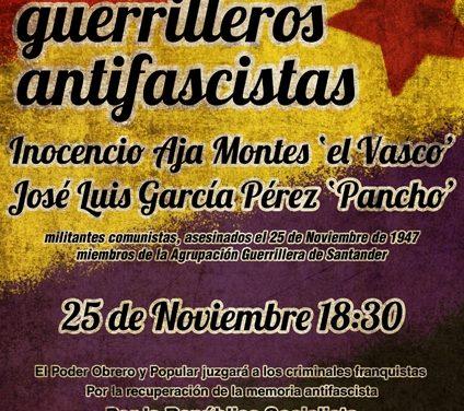 25 de Noviembre – Homenaje Guerrilleros Antifascistas en Torre, Cantabria.