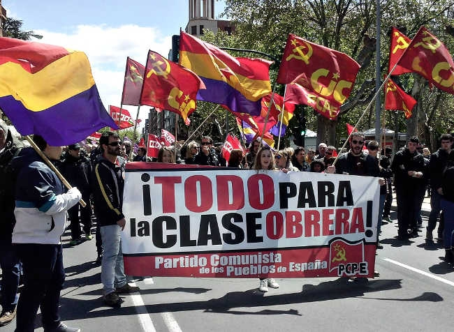El PCPE y los CJC, en el día internacional de la clase obrera.