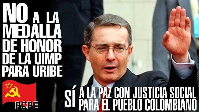 No a la medalla de la UIMP a Álvaro Uribe