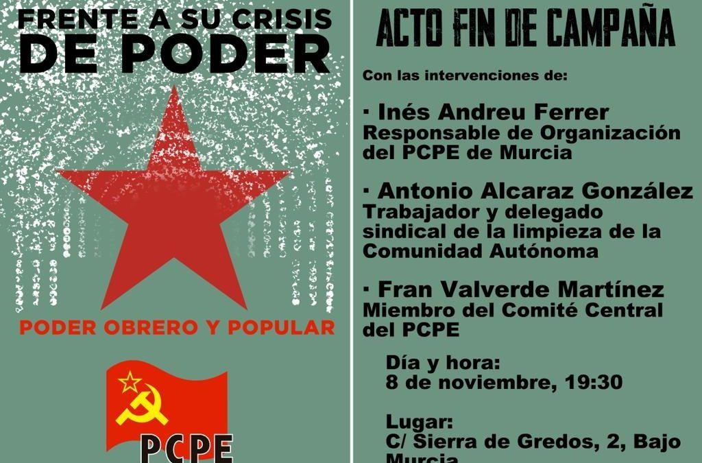 Acto de cierre de la campaña electoral en Murcia