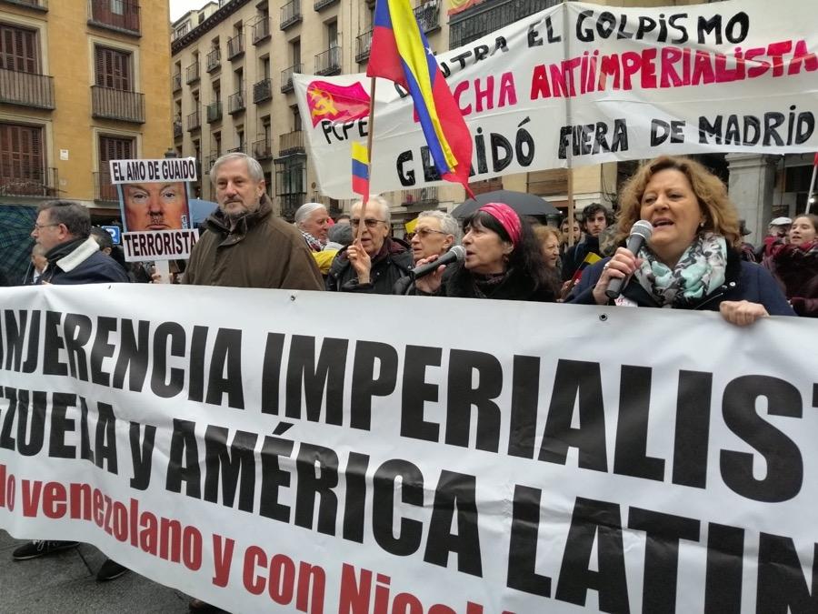 Manifestación de repulsa al golpista usurpador Juan Guaidó en su visita a Madrid