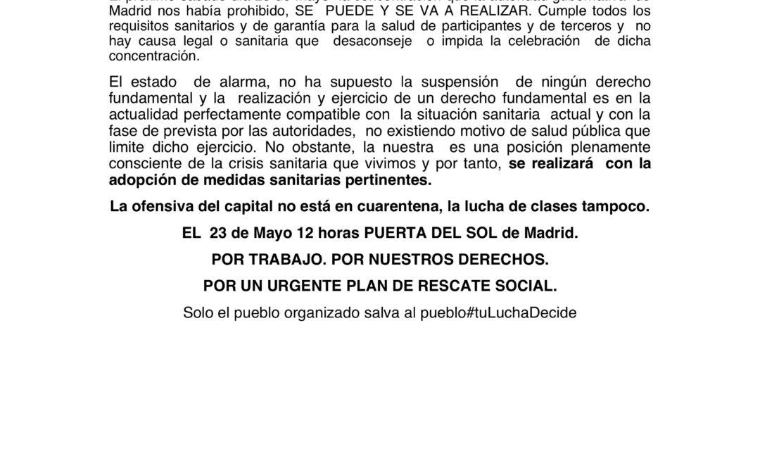 [Madrid] La sala de lo  Contencioso- Administrativo del Tribunal Superior de Justicia de Madrid NOS DA LA RAZÓN
