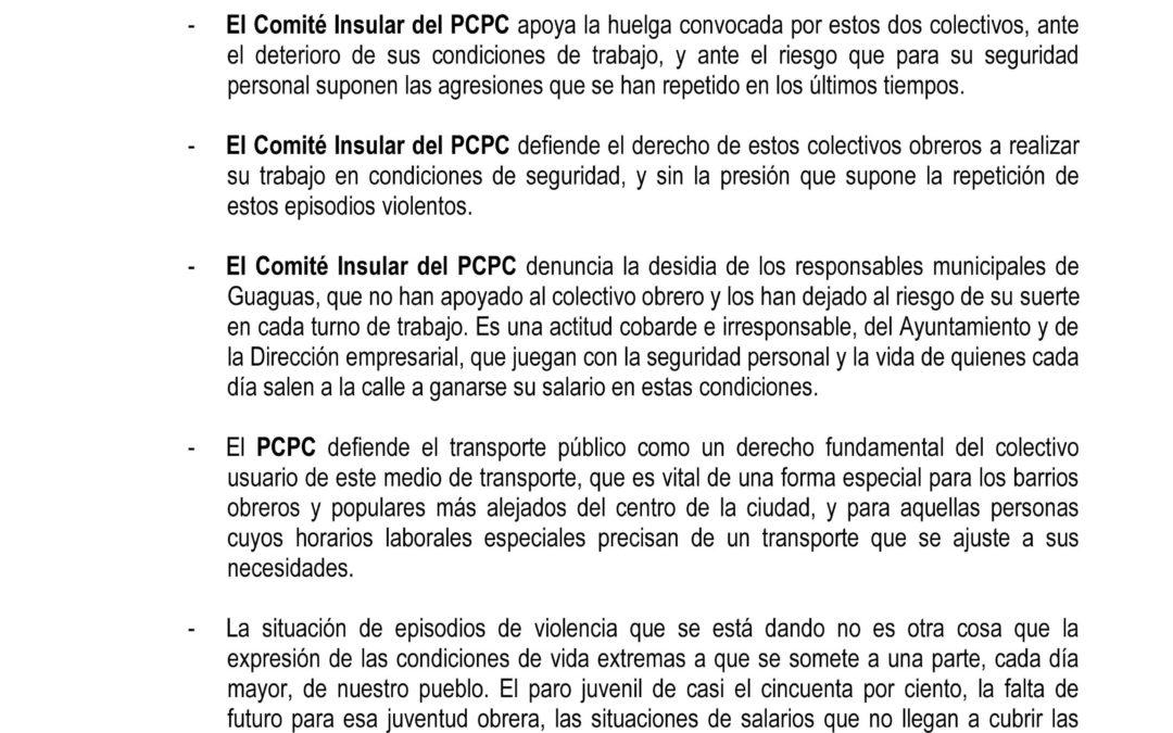 El Comité Insular de Gran Canaria del PCPC apoya la huelga de guaguas municipales y de los taxistas
