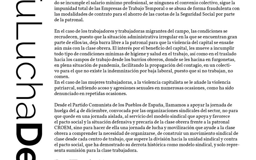 [Murcia] El PCPE apoya la huelga del sector agroalimentario del 4D en la Región