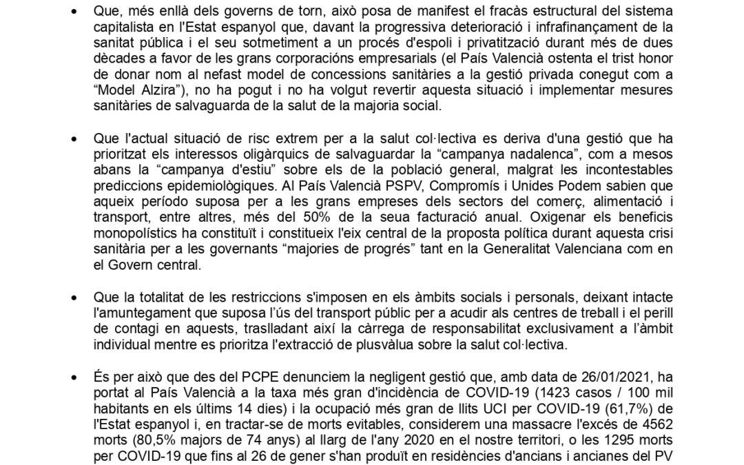 Declaració del Comité del País Valencià del PCPE davant l'extremadament greu situación epidemiològica en el nostre territori