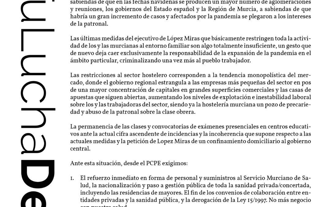 [Murcia] El incremento descontrolado de infecciones en la Región de Murcia exige medidas inmediatas.