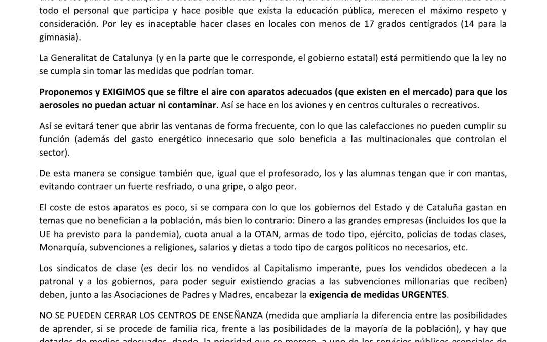 [Catalunya] Davant la inacceptable situació de fred a les escoles DENUNCIEM i EXIGIM
