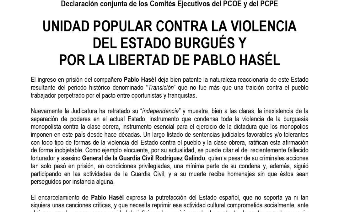 Unidad popular contra la violencia del estado burgués y por la libertad de Pablo Hasél