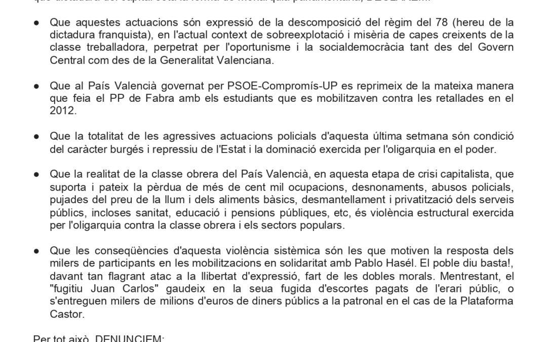 """[País Valencià] Declaración del Comité del PV ante la brutal represión por parte de las Fuerzas y Cuerpos de """"Seguridad"""" del Estado en respuesta a las múltiples manifestaciones de solidaridad con Pablo Hasél"""