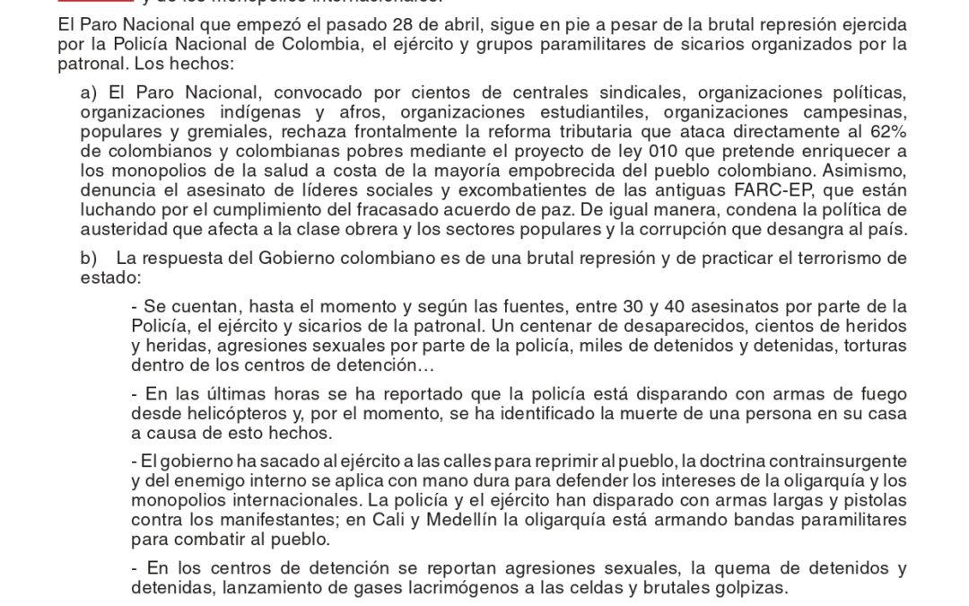 Ante los graves hechos de represión contra el pueblo colombiano