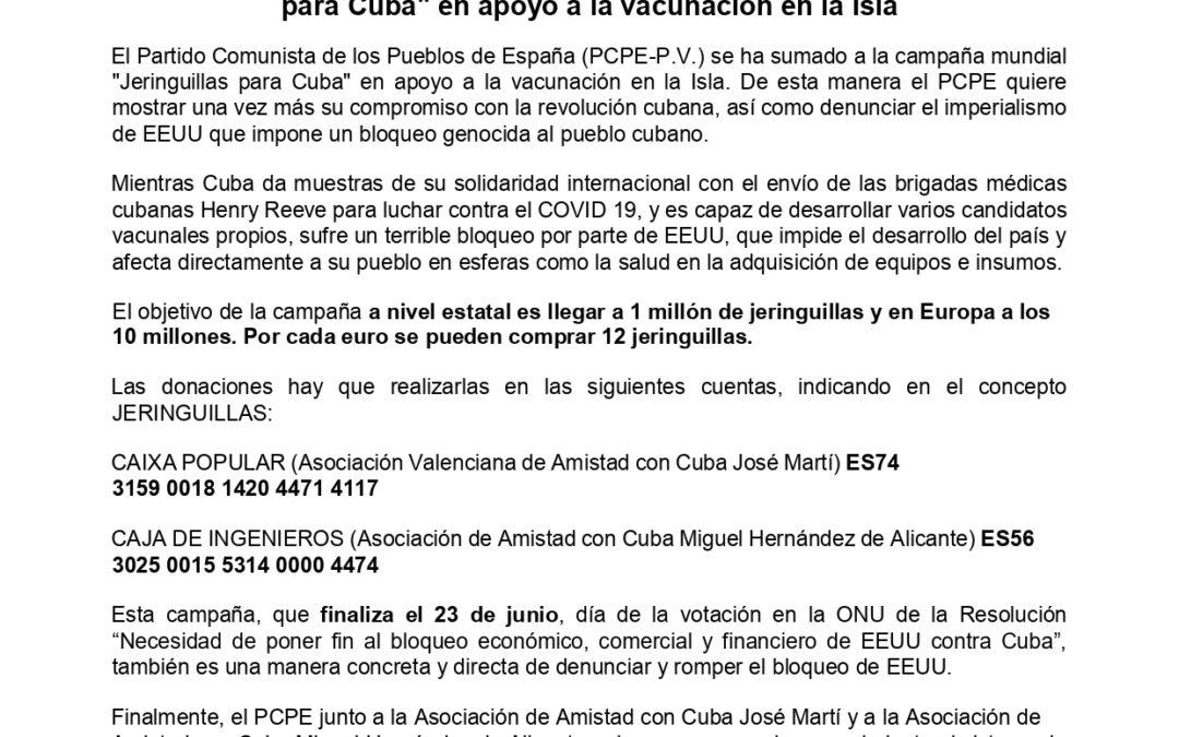 [País Valencià] El PCPE del PV se suma a la campaña mundial «Jeringuillas para Cuba» en apoyo a la vacunación en la Isla