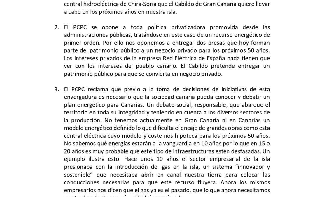 [Gran Canaria] Declaración del comité insular sobre la central hidroeléctrica Chira-Soria
