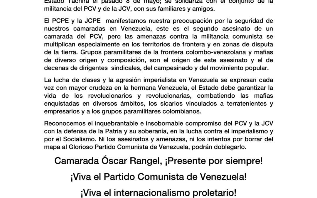 Ante el asesinato del camarada Óscar Rangel (Cachú), dirigente del Partido Comunista de Venezuela y de la Juventud Comunista de Venezuela